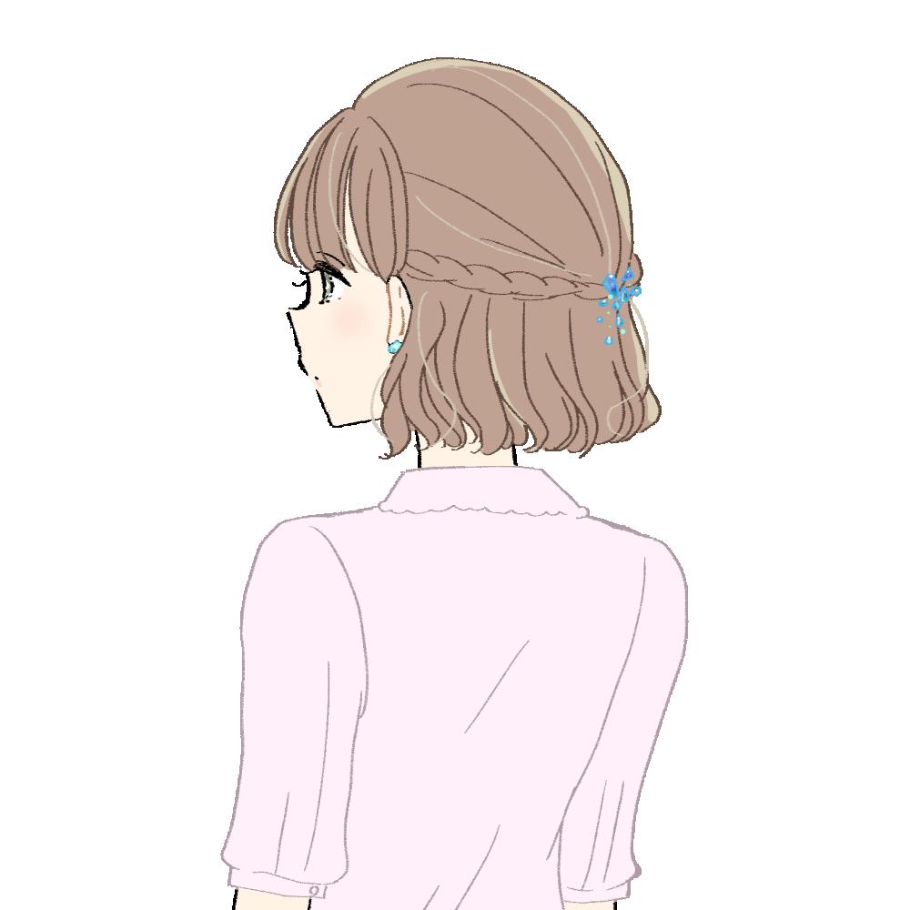 雨のしずくの髪飾りの女の子 イラスト素材