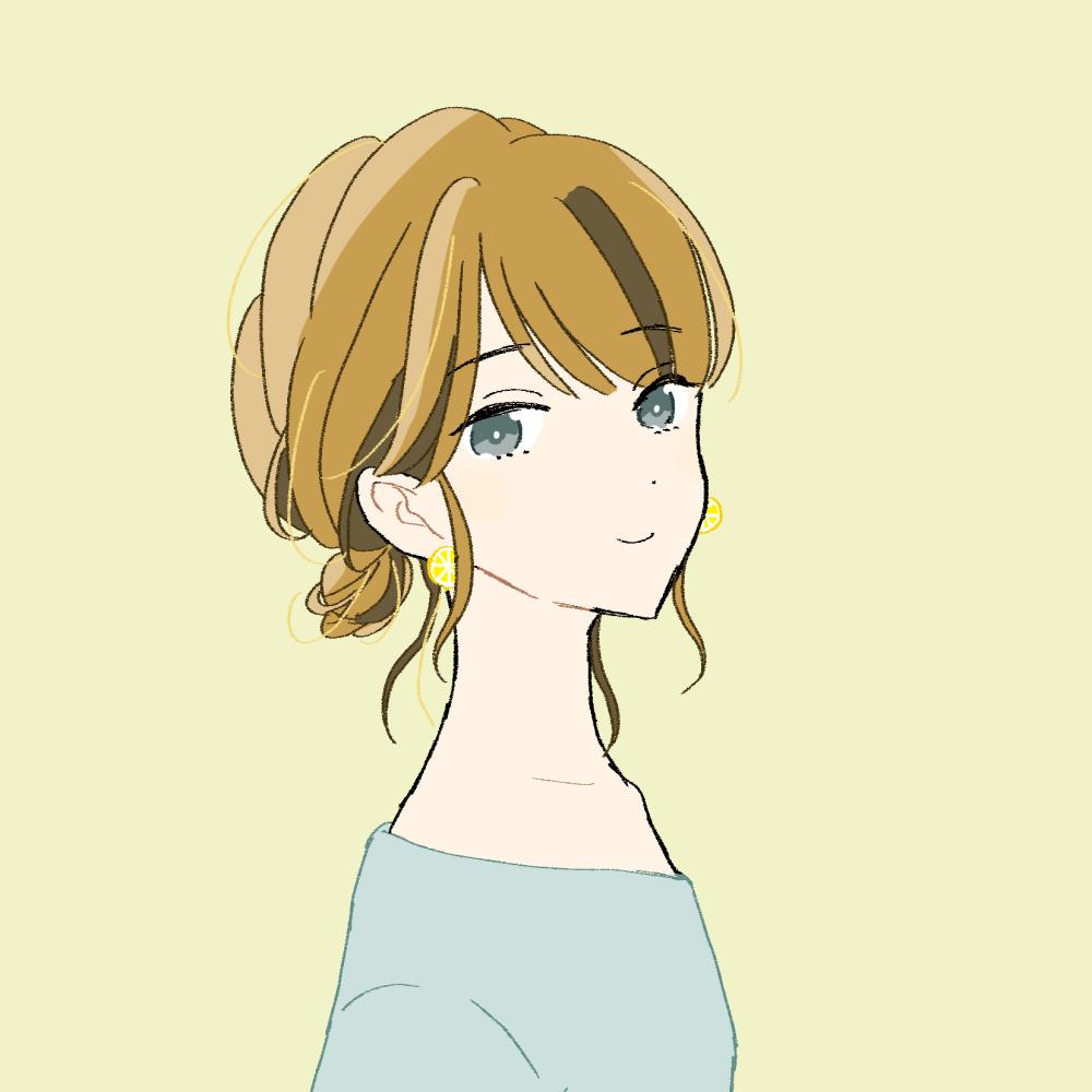 ゆるまとめ髪の女の子 イラスト素材