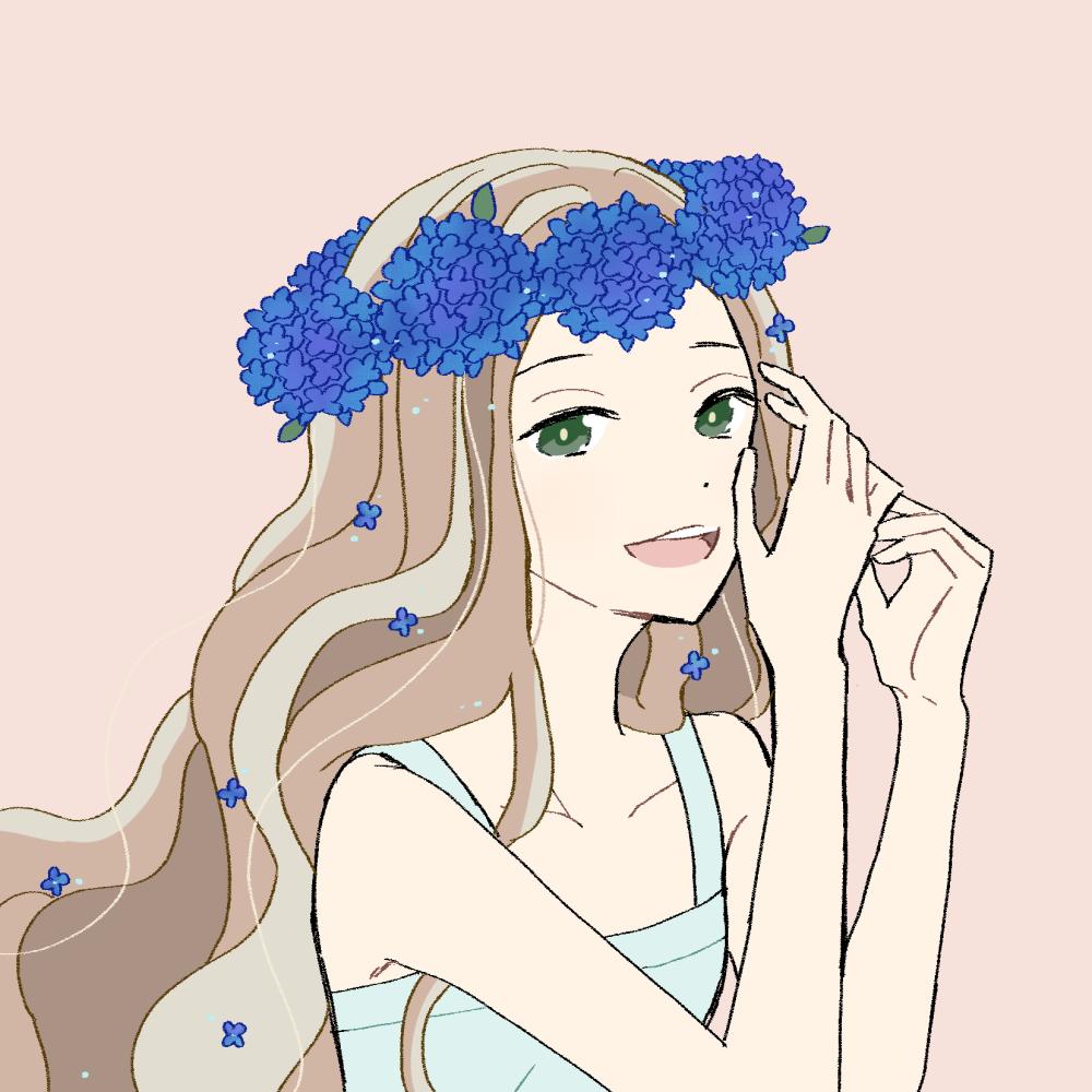 あじさいの冠の女の子|イラスト素材