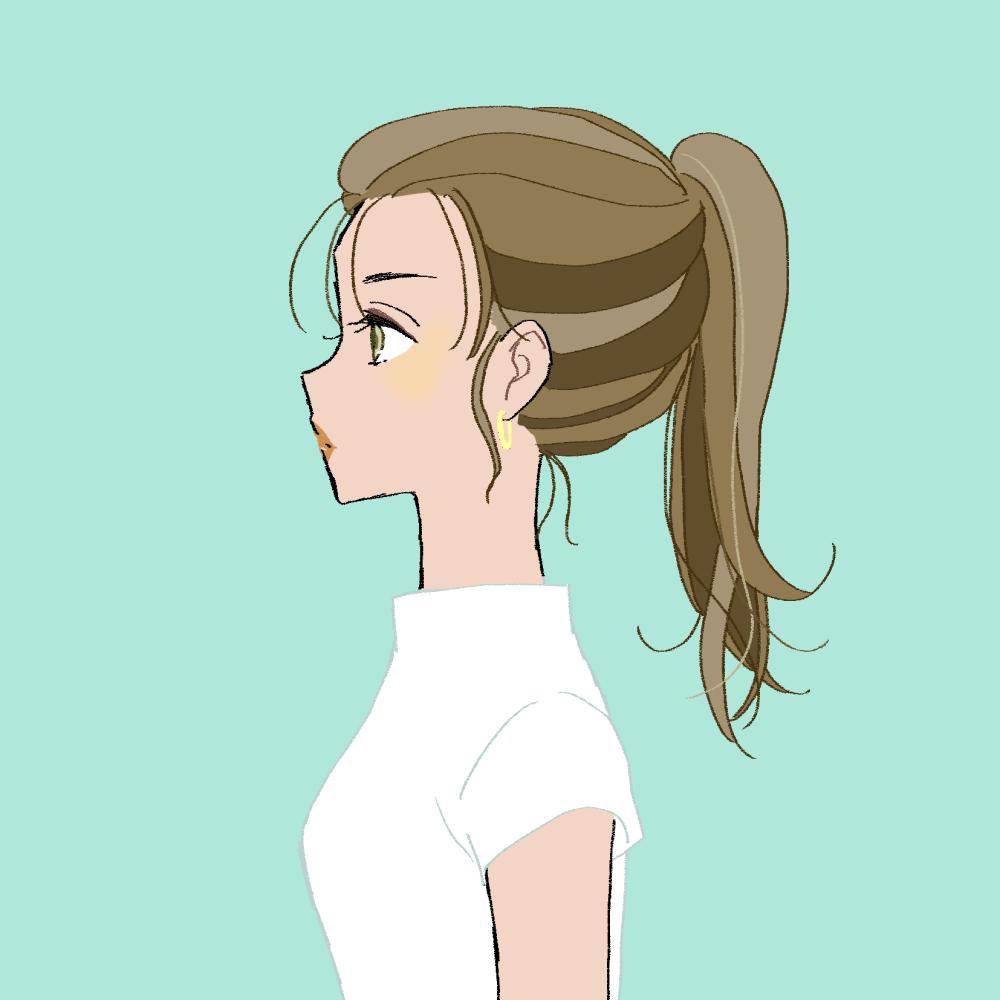 日焼け/ポニーテールの女の子|イラスト素材