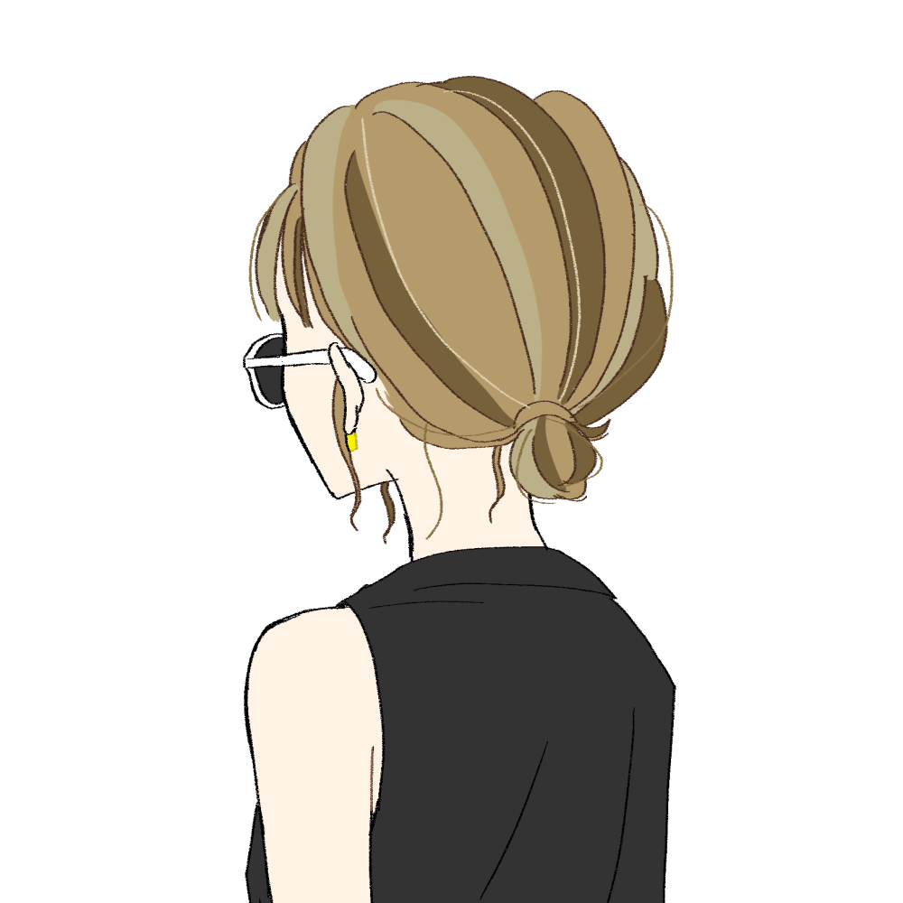 まとめ髪/サングラス/バックスタイルの女の子 イラスト素材