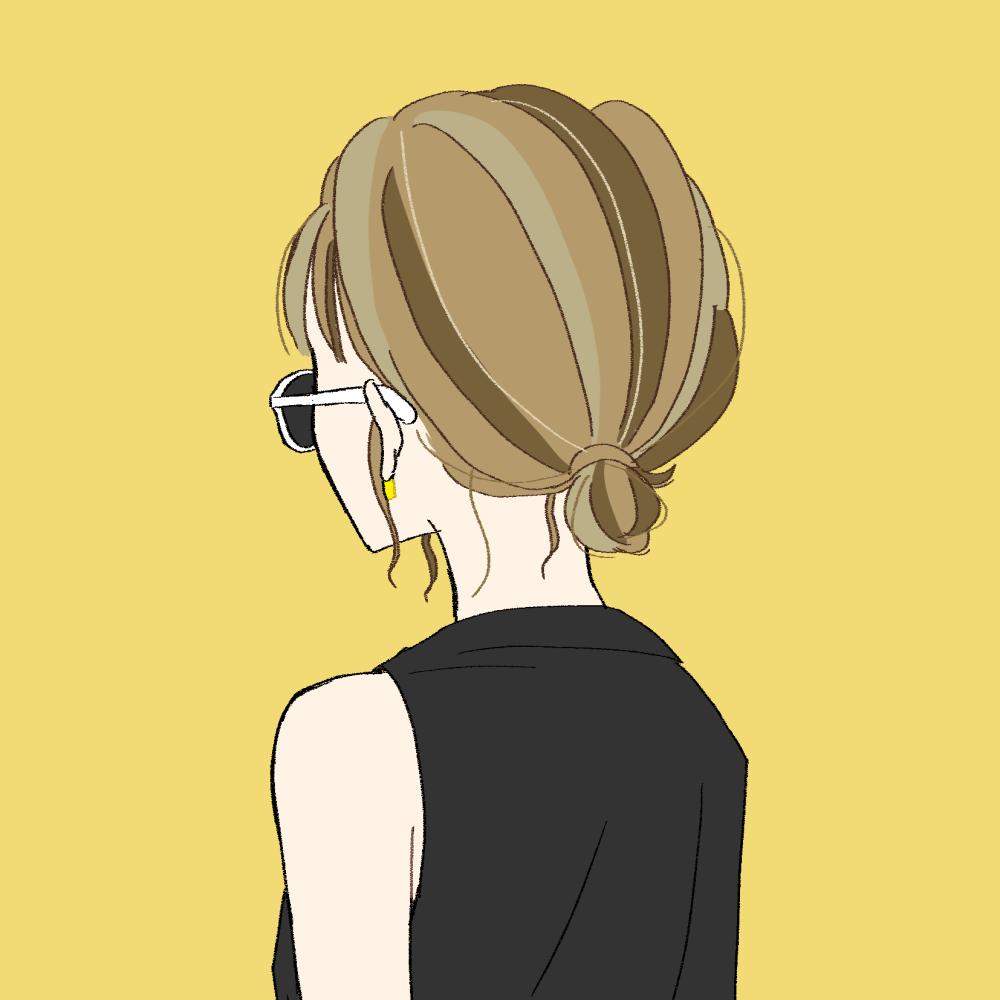 まとめ髪/サングラス/バックスタイルの女の子|イラスト素材