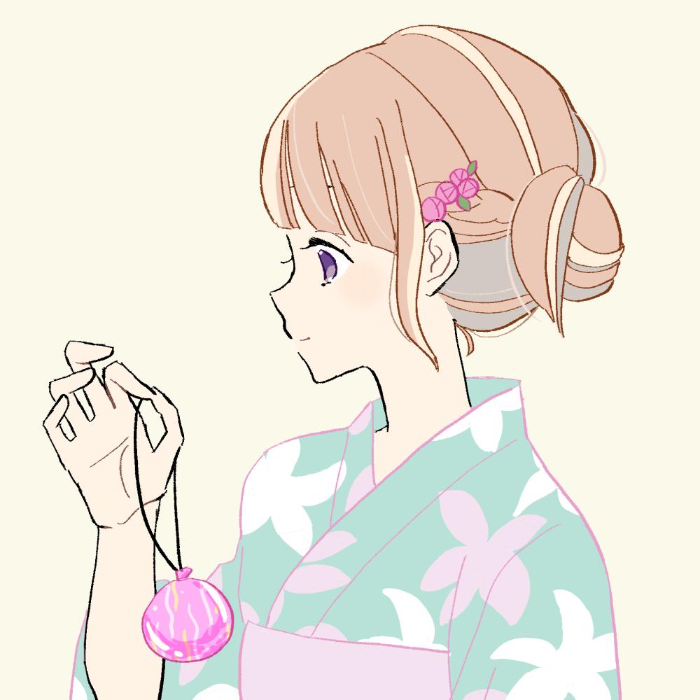 浴衣/水風船の女の子 イラスト素材