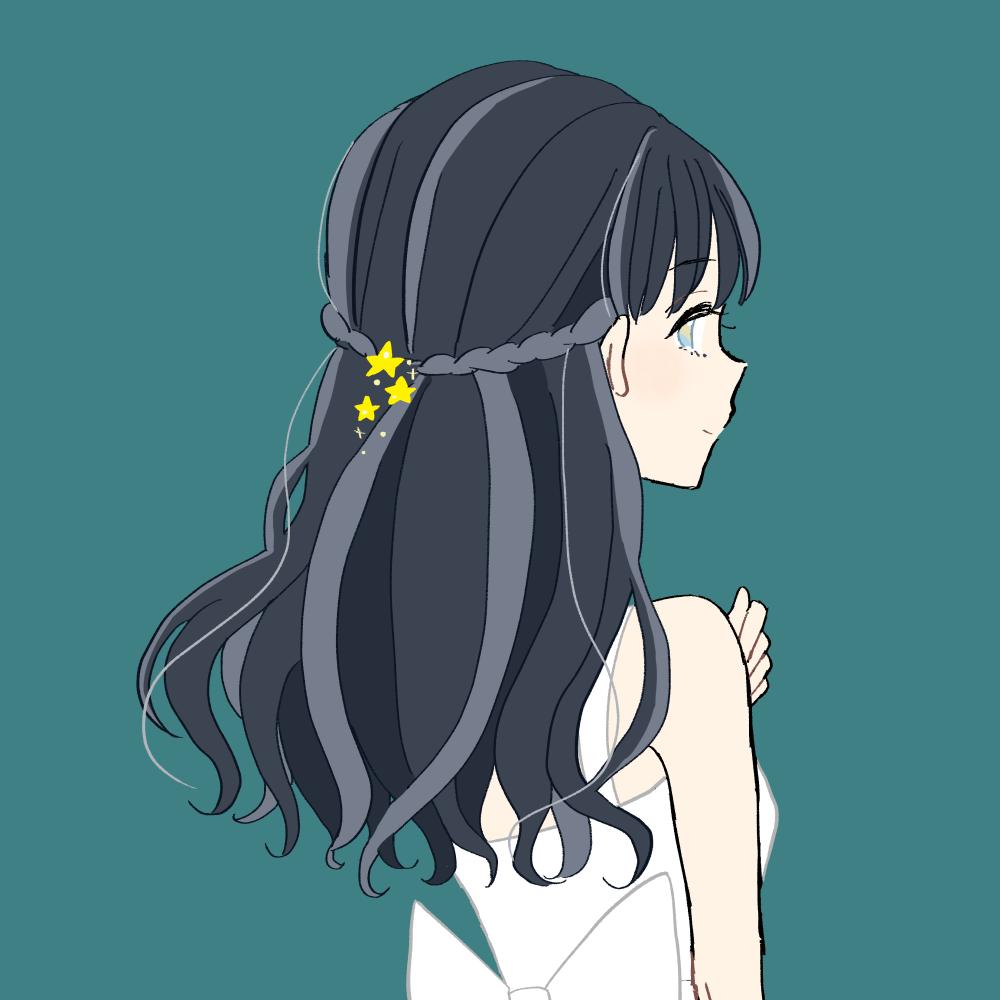 星のヘアアクセサリーの女の子|イラスト素材