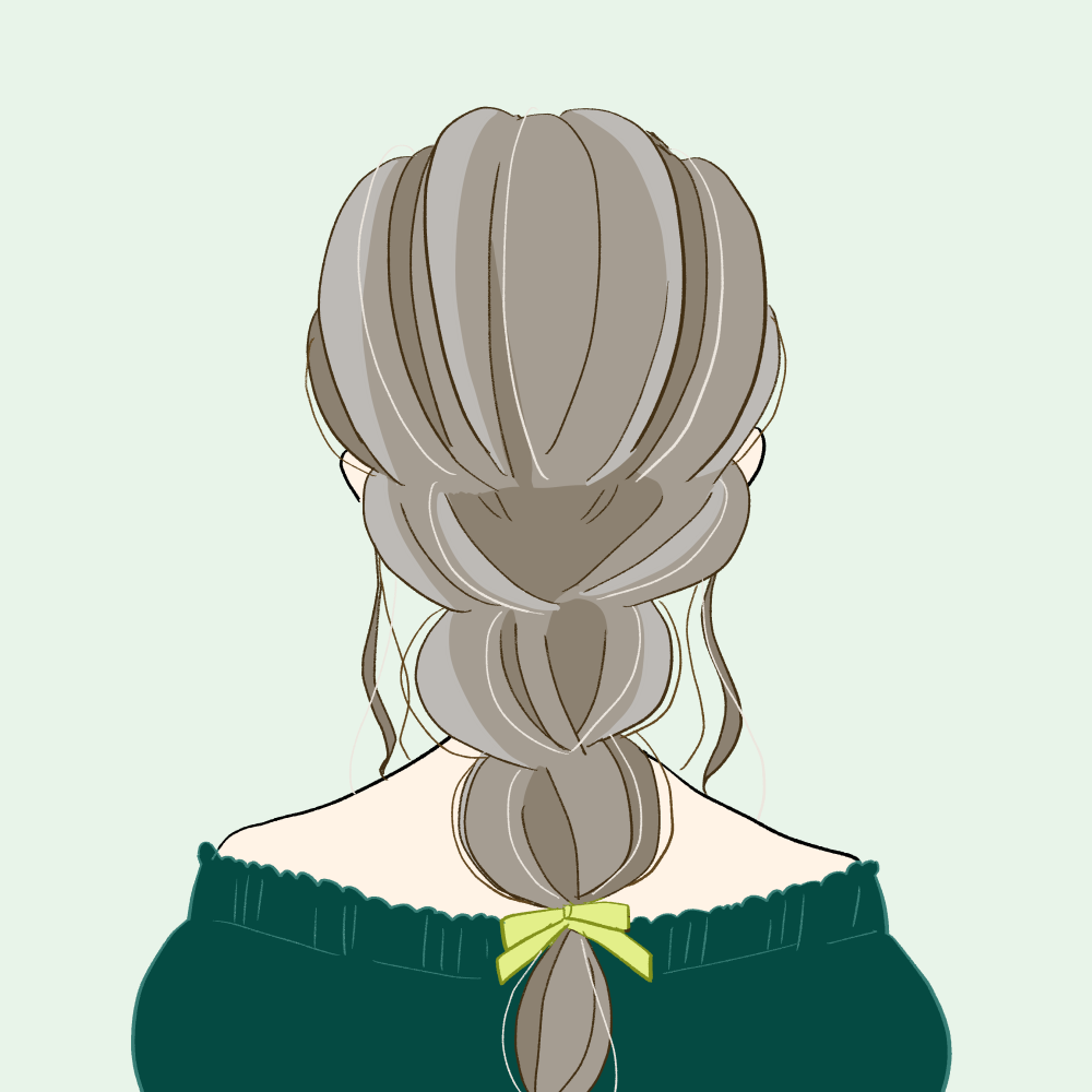 みつあみ/オフショルダー/バックスタイルの女の子 イラスト素材