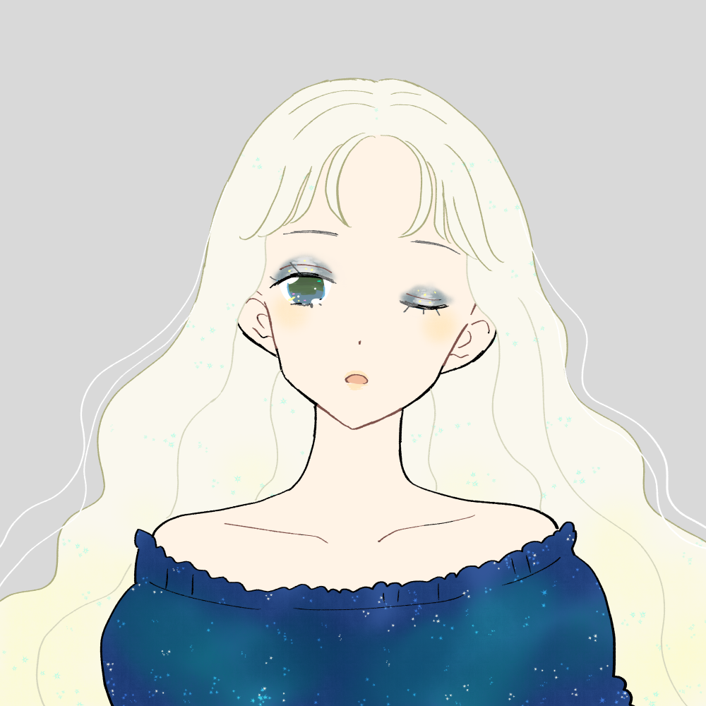 星空メイクの女の子|イラスト素材