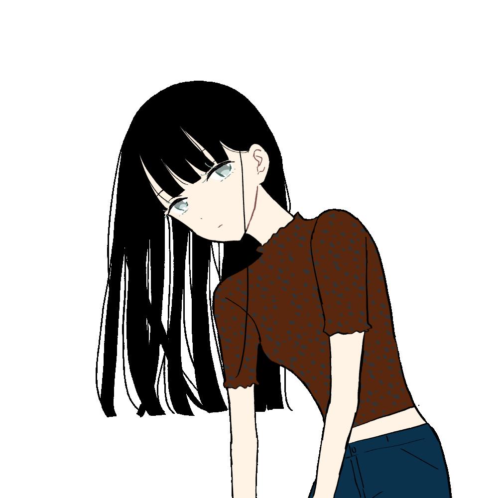 レオパード柄トップス/黒髪ロングの女の子|イラスト素材
