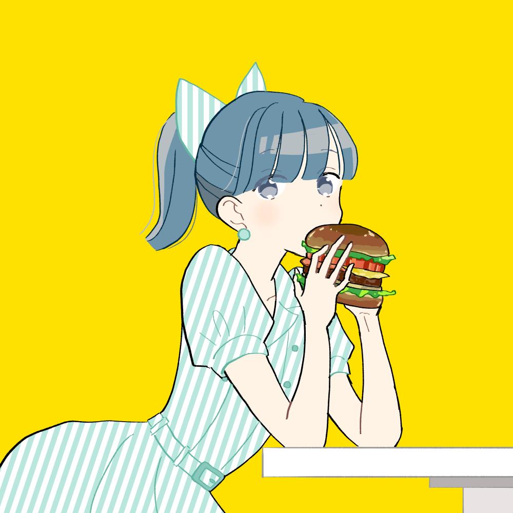 ハンバーガーを食べる女の子|イラスト素材