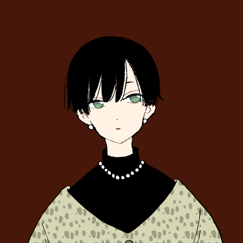 黒髪ショート/レオパード柄ニットの女の子 イラスト素材