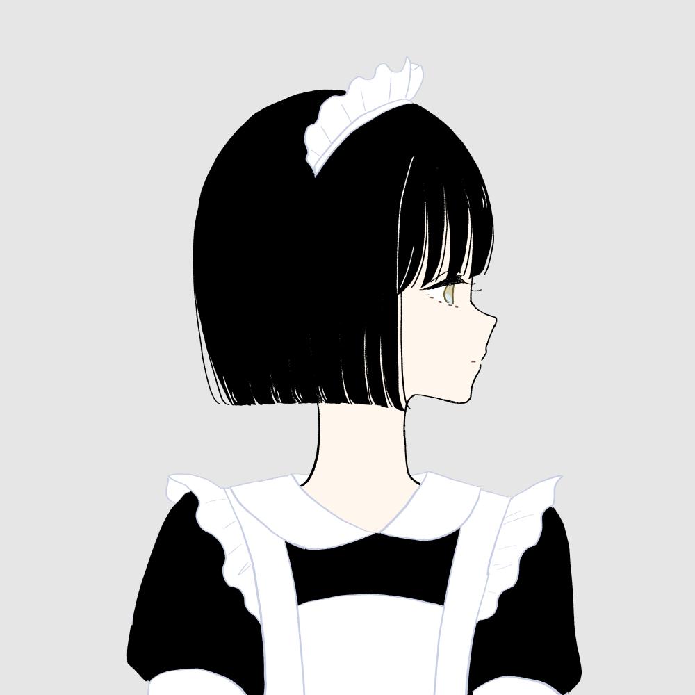 メイド服の女の子|イラスト素材