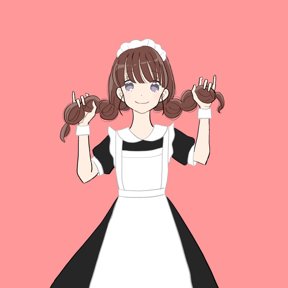 メイド服/みつあみの女の子|イラスト素材