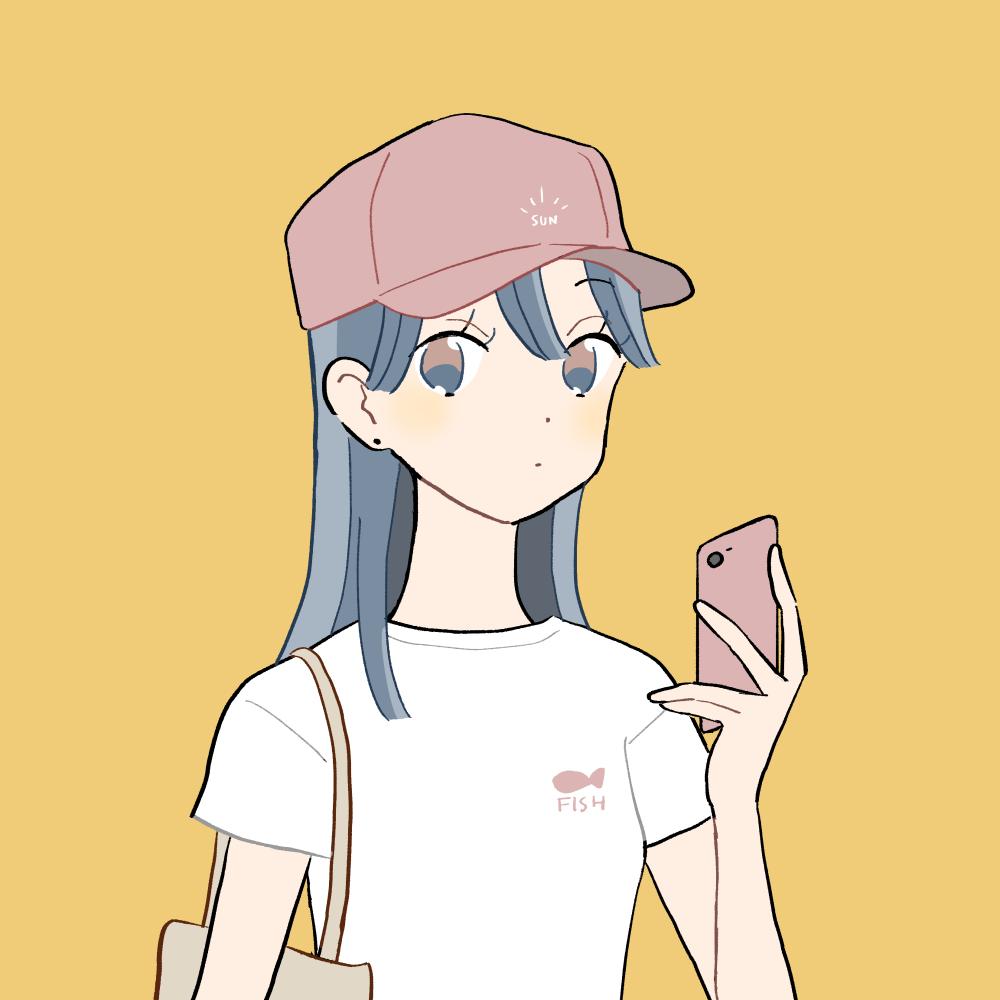 ピンクキャップ/白Tシャツの女の子 イラスト素材