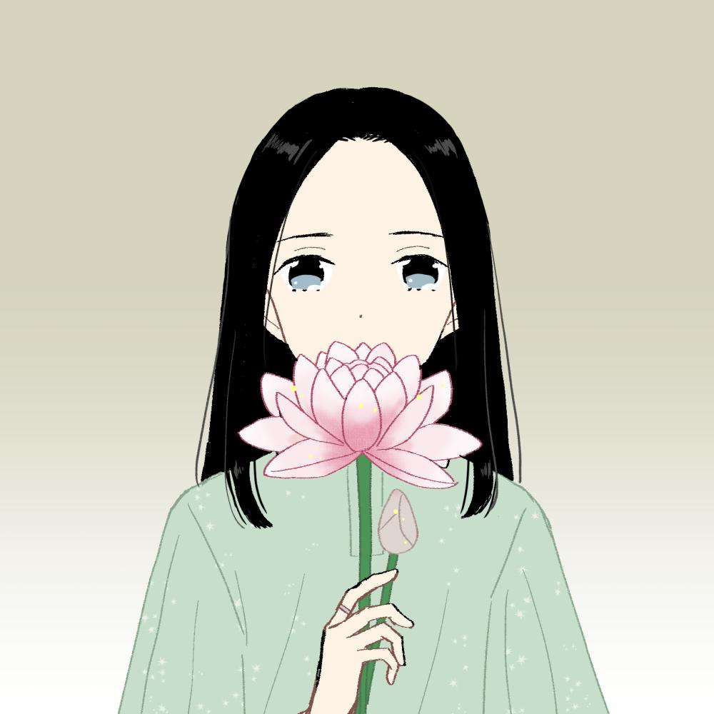 蓮の花/ワンレンの女の子|イラスト素材