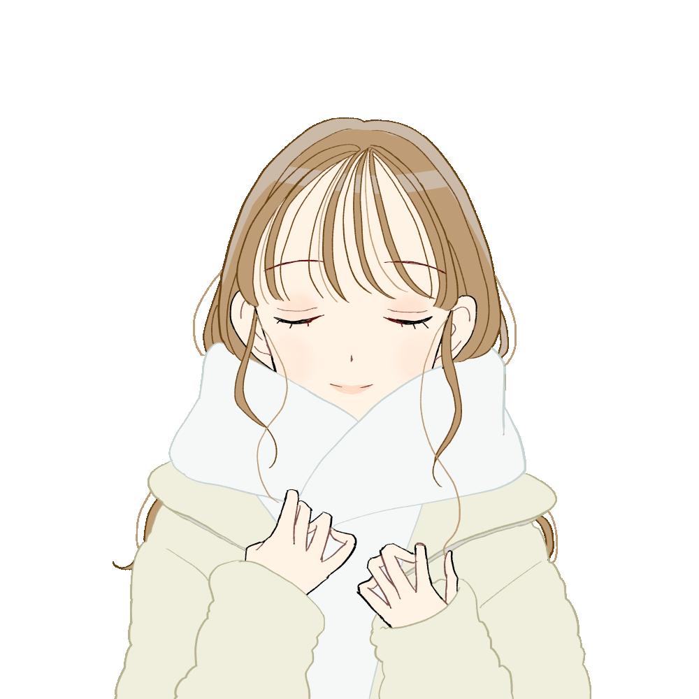 白マフラー/ボアブルゾンコーデの女の子|イラスト素材