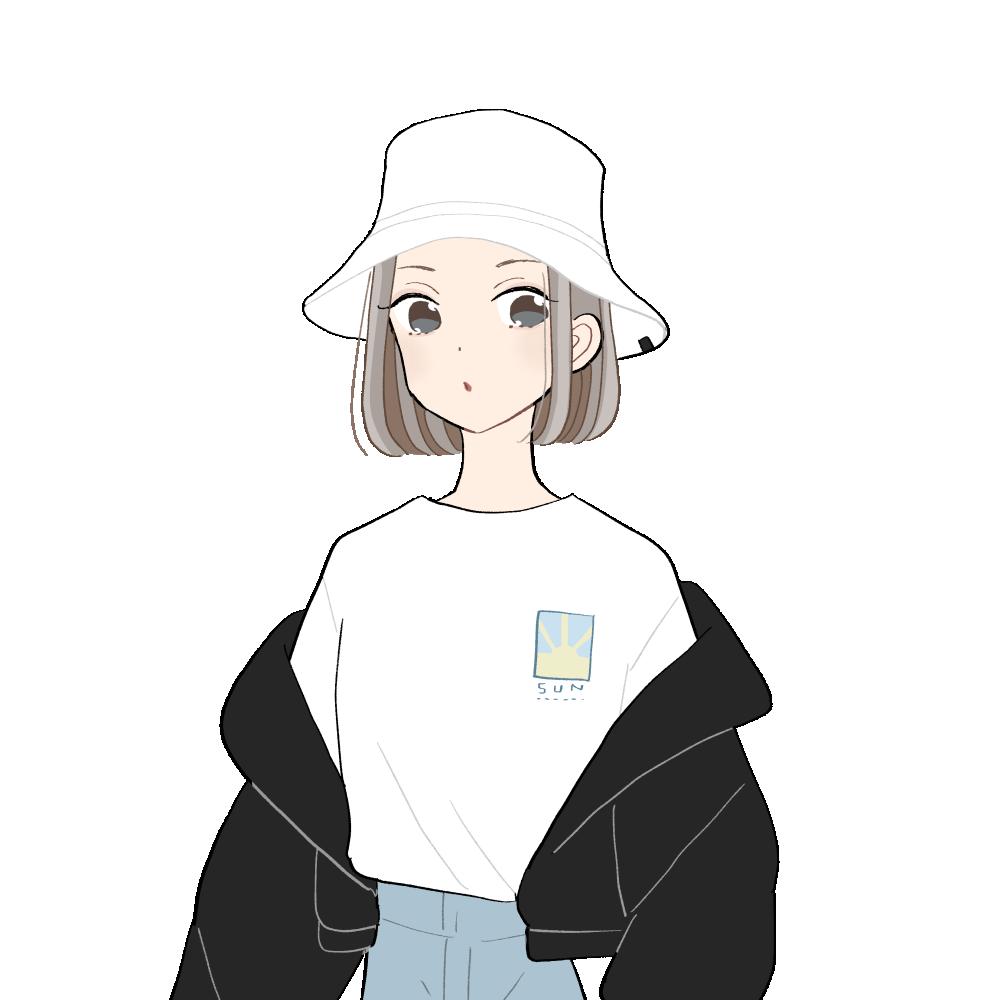 バケツハット/オーバーサイズジャケットコーデの女の子|イラスト素材