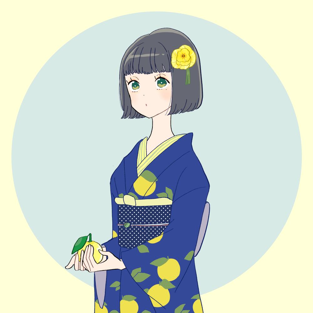 柚/レトロ着物の女の子 イラスト素材