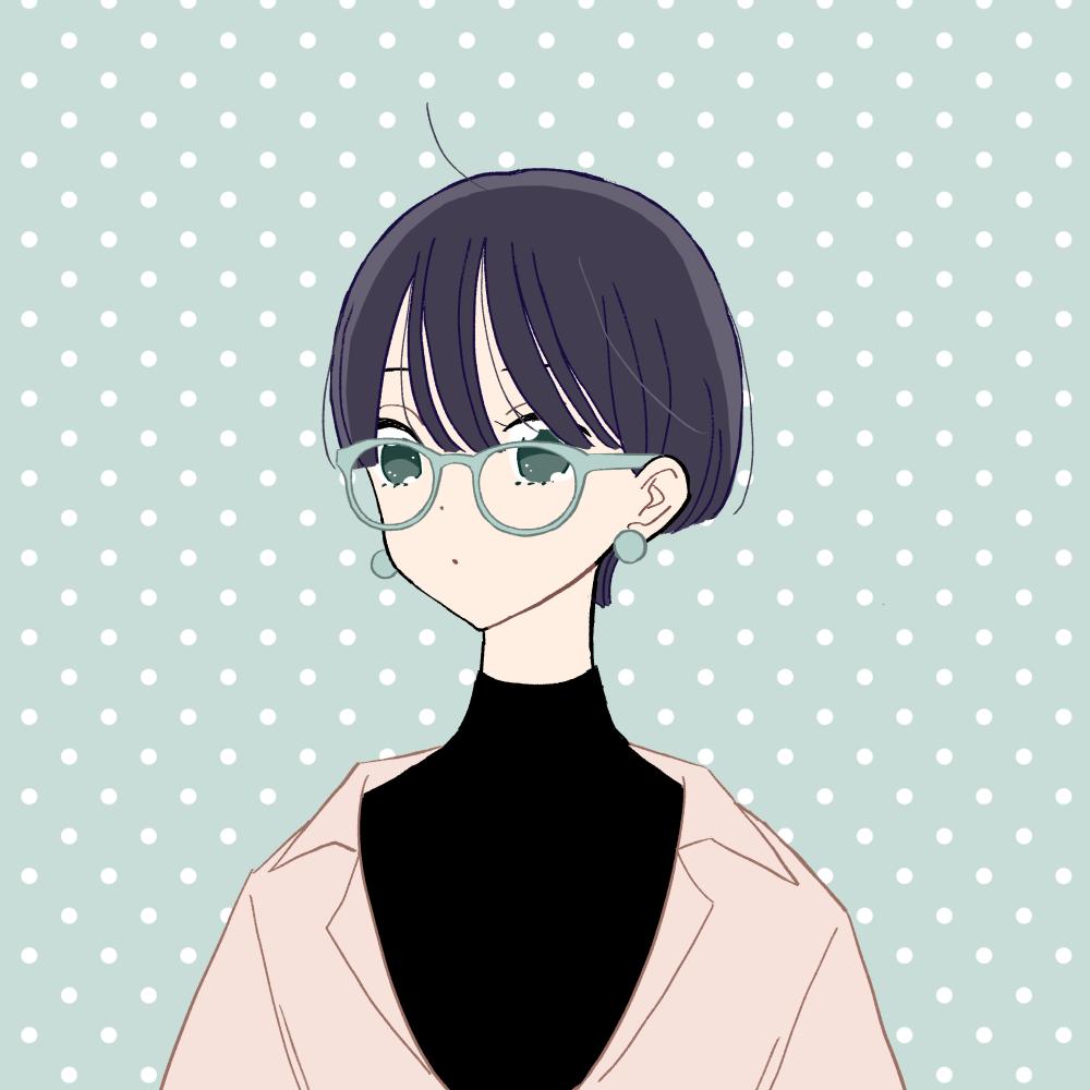 マッシュショート/眼鏡/CPOジャケットの女の子|イラスト素材