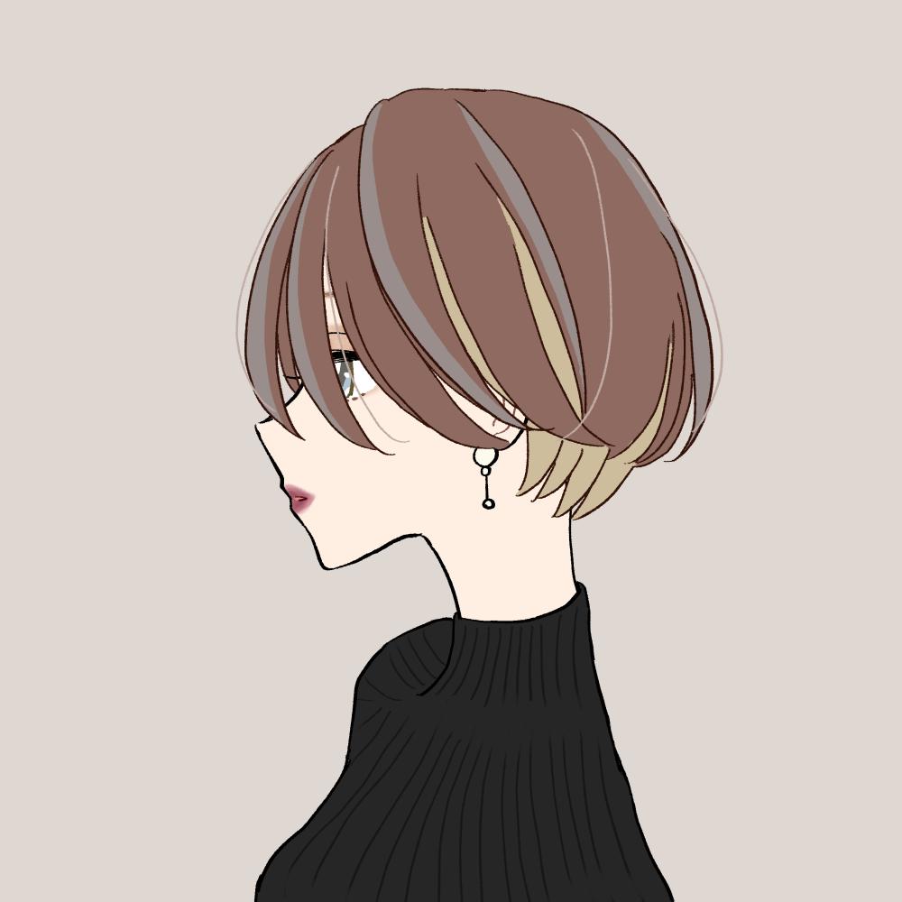 インナーカラー/センターパートショートヘアの女の子|イラスト素材