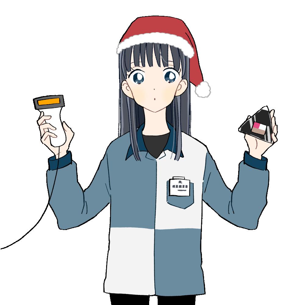 クリスマス/コンビニバイトの女の子|イラスト素材