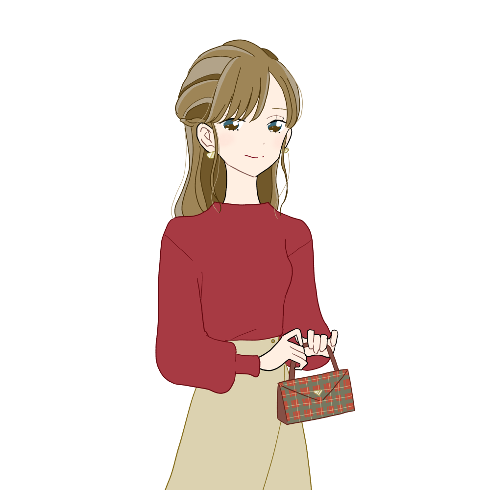 クリスマス風チェック柄のハンドバッグを持ったハーフアップの女の子|イラスト素材