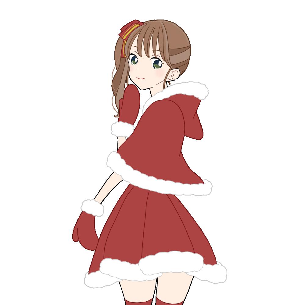 クリスマスポンチョでサイドテールの女の子のイラスト素材