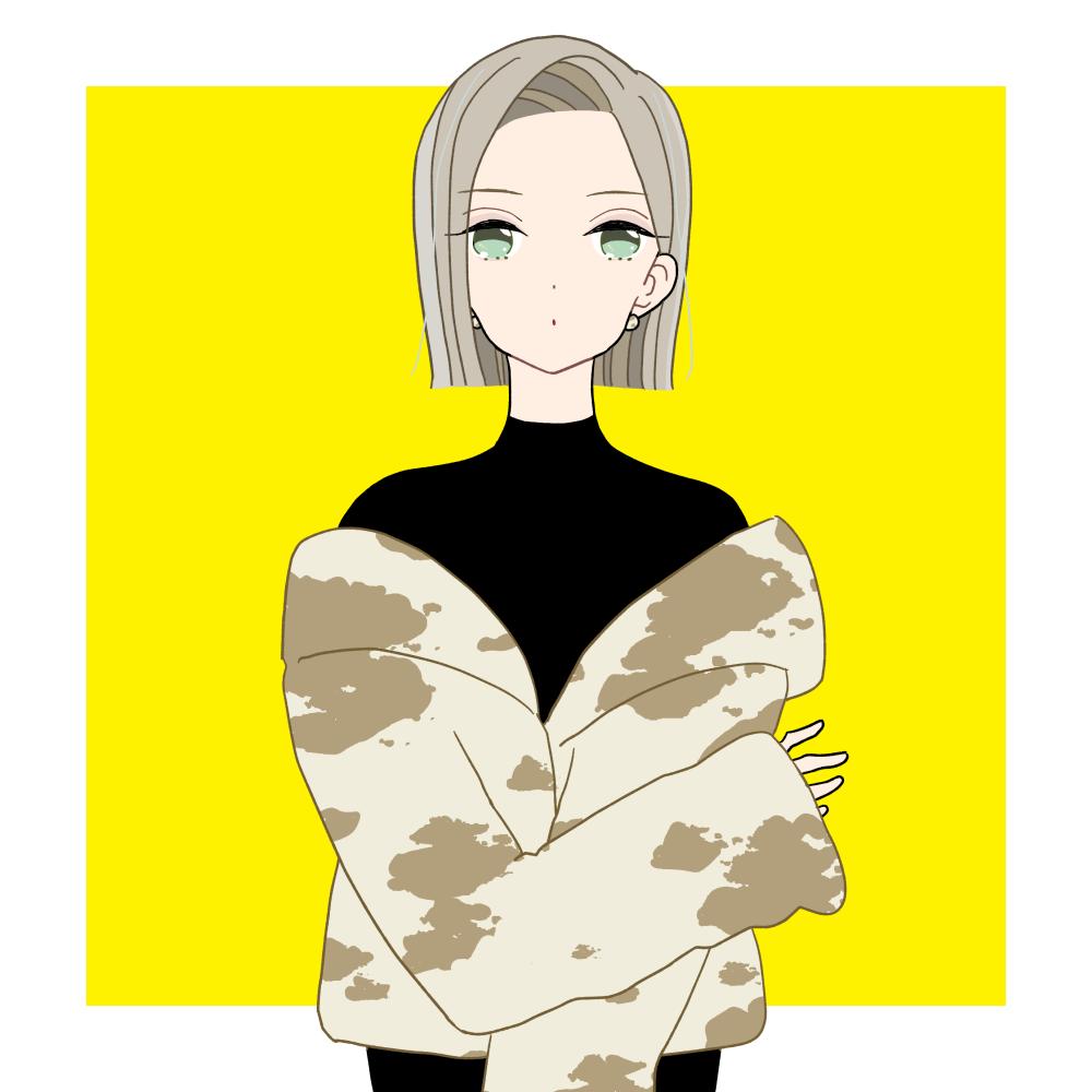 ワンレンボブのカウ柄コートファッションの女の子|イラスト素材