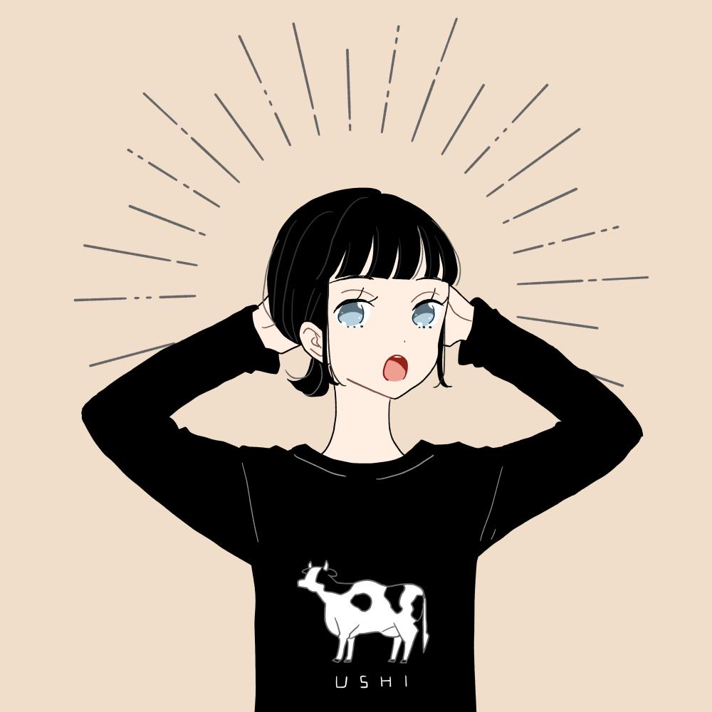 牛のイラストプリントTシャツを着た女の子のイラスト素材