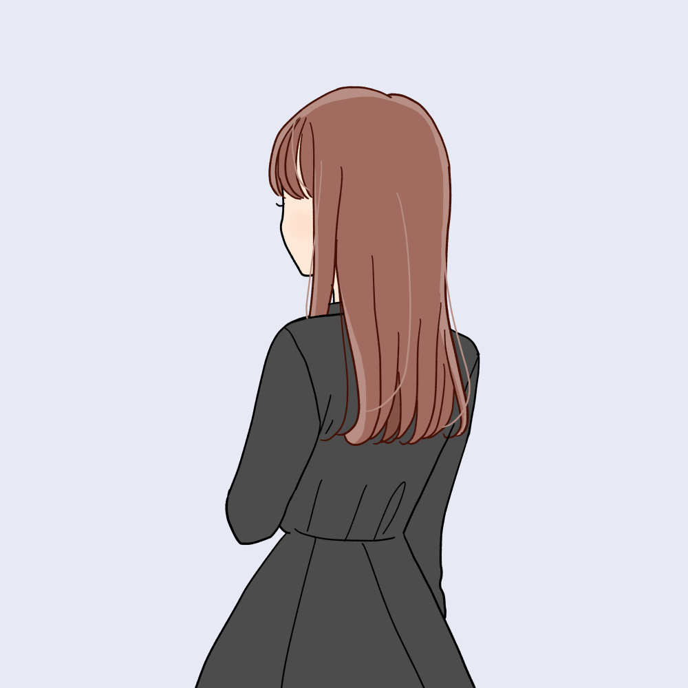赤毛で黒ワンピースの女の子のバックスタイルイラスト素材