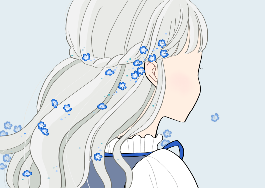 ネモフィラの髪飾りの女の子のイラスト素材