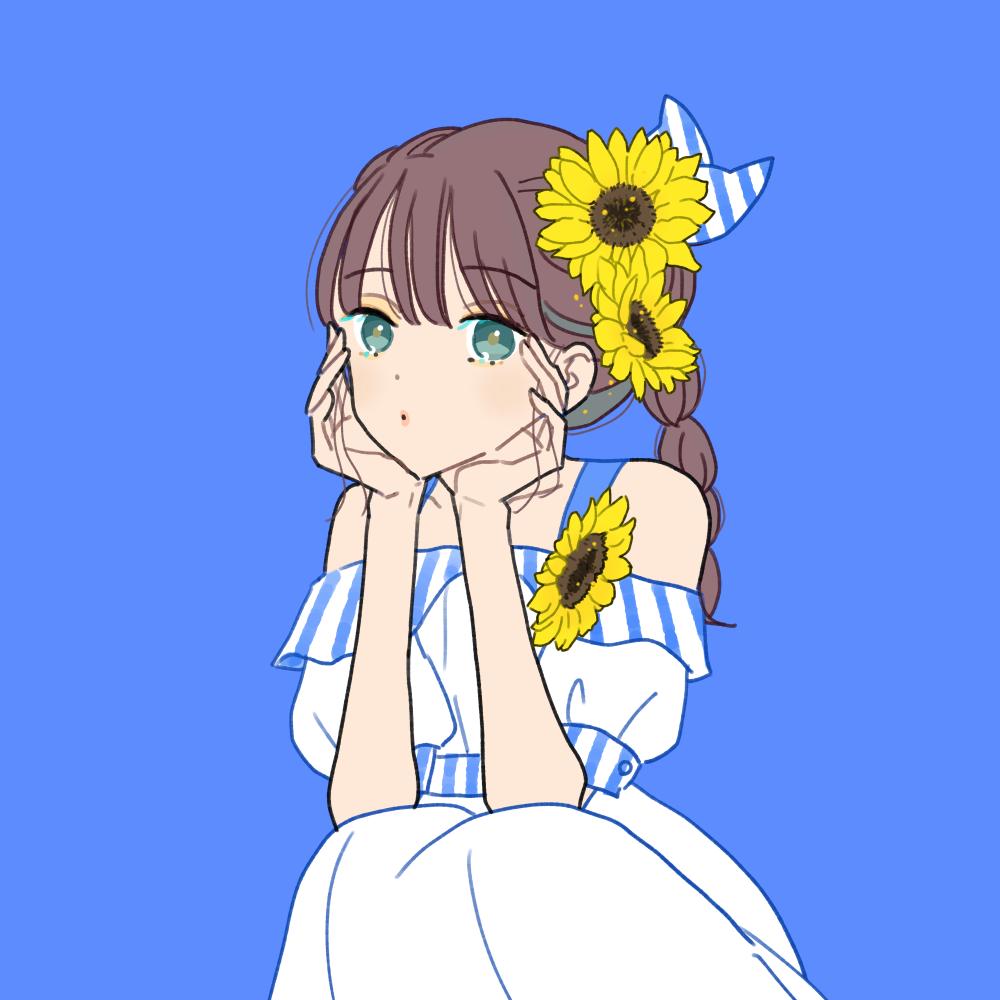 向日葵とオフショルダーの女の子のイラスト素材