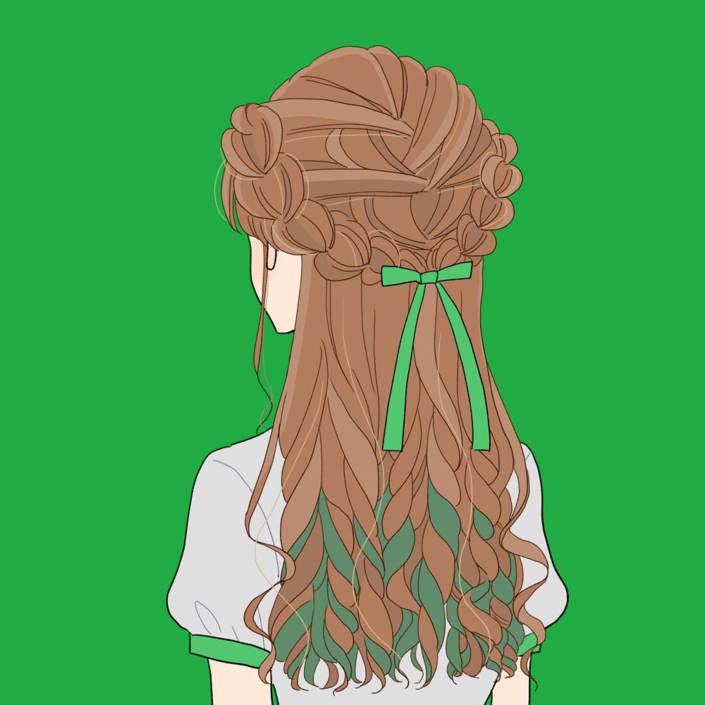 【カラーバリエーション有】量産型風推し色ヘアアレンジの女の子のイラスト素材